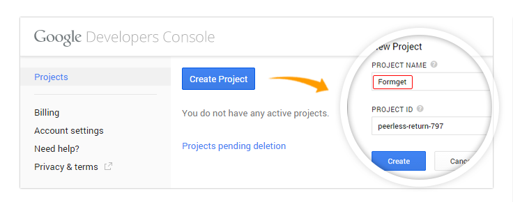 Google oauth creating project