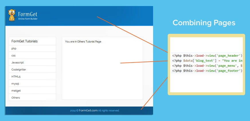 codeigniter header footer template