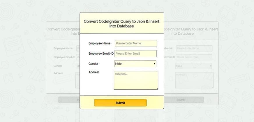 codeigniter insert json data on db