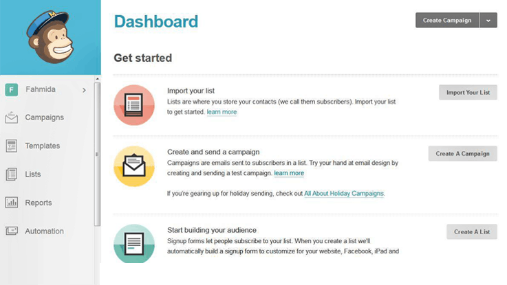 MailChimp Dashboard - Best Email Marketing Services