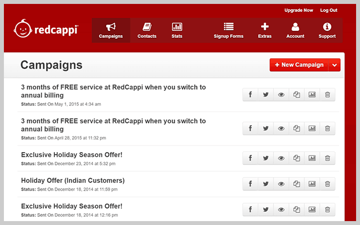 RedCappi Dashboard - Best Email Marketing Services