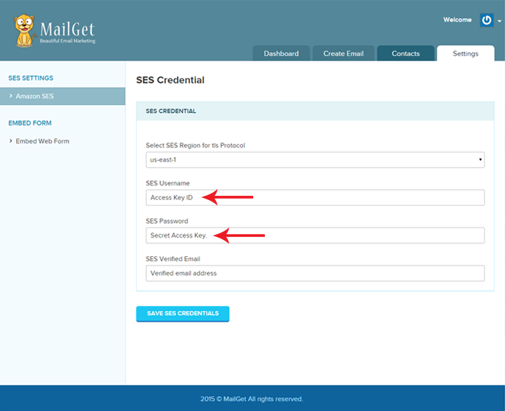 mailget credentials settings