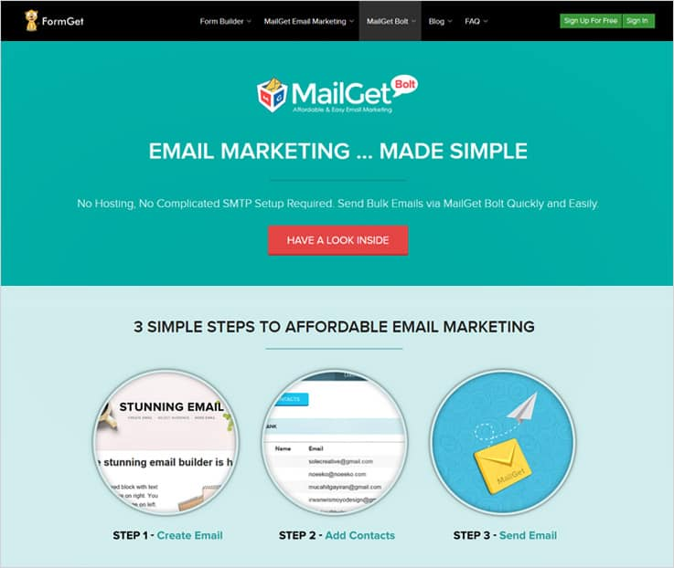 Mailget-Bolt drip email marketing software
