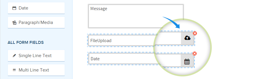 file upload and date change in form