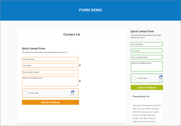 embed plain form without header and footer formget