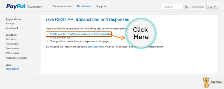 Click this option to get API Credentials