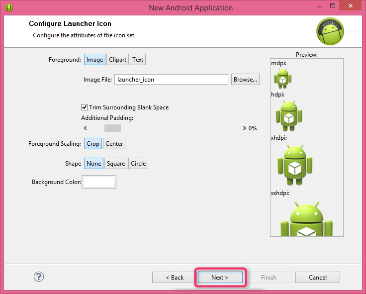 Configure Application launcher icon