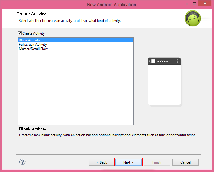 Create Activity in Android Application