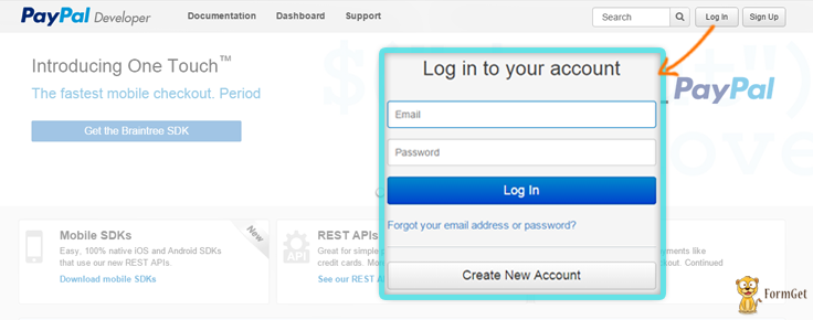 developers login page paypal