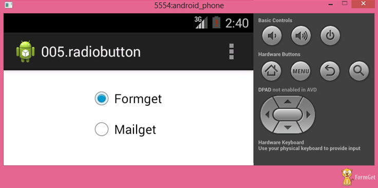 radio button view in android