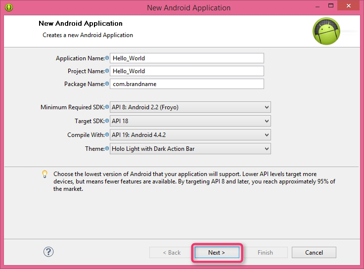 Create New Android Application