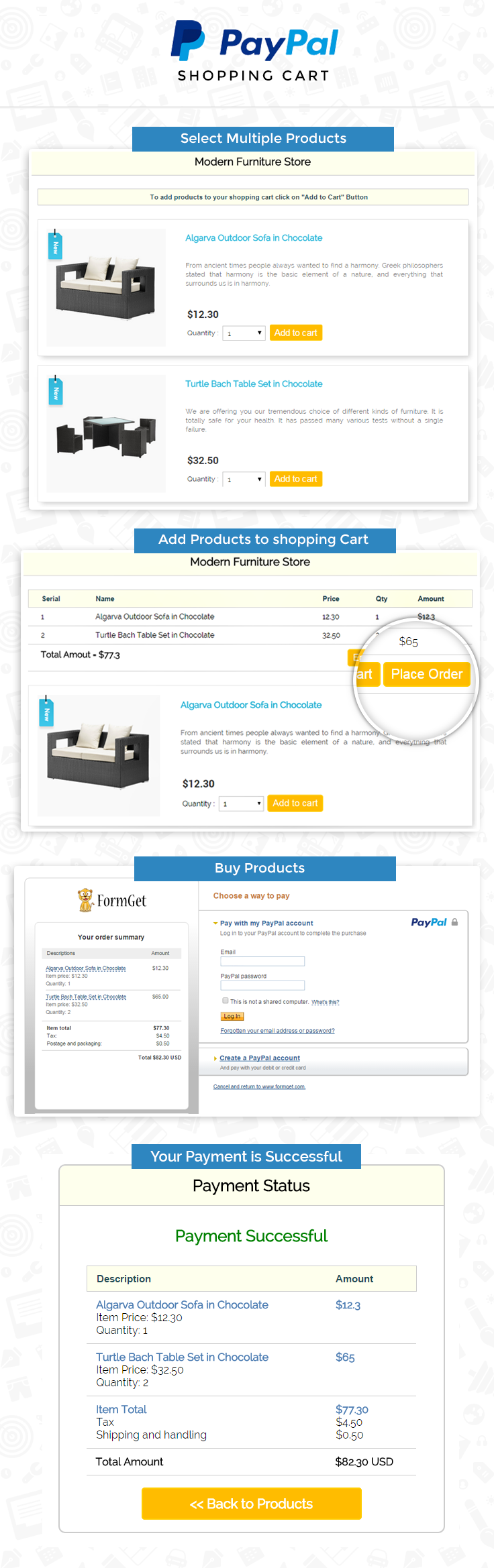 Paypal express checkout shopping cart in php