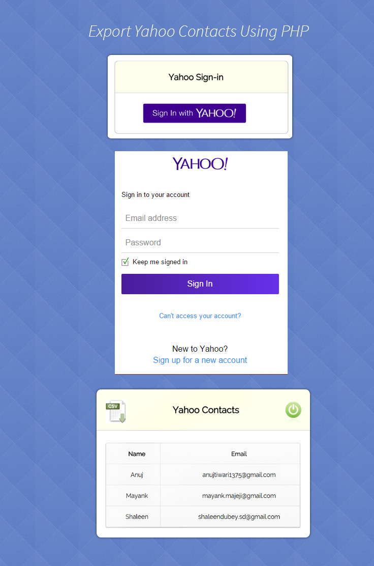 Export Yahoo Contacts Using PHP Demo