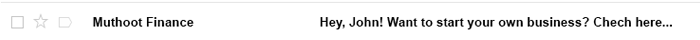 Personalized email subject