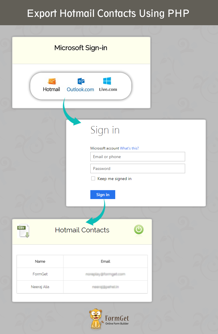Export Hotmail Contacts Demo