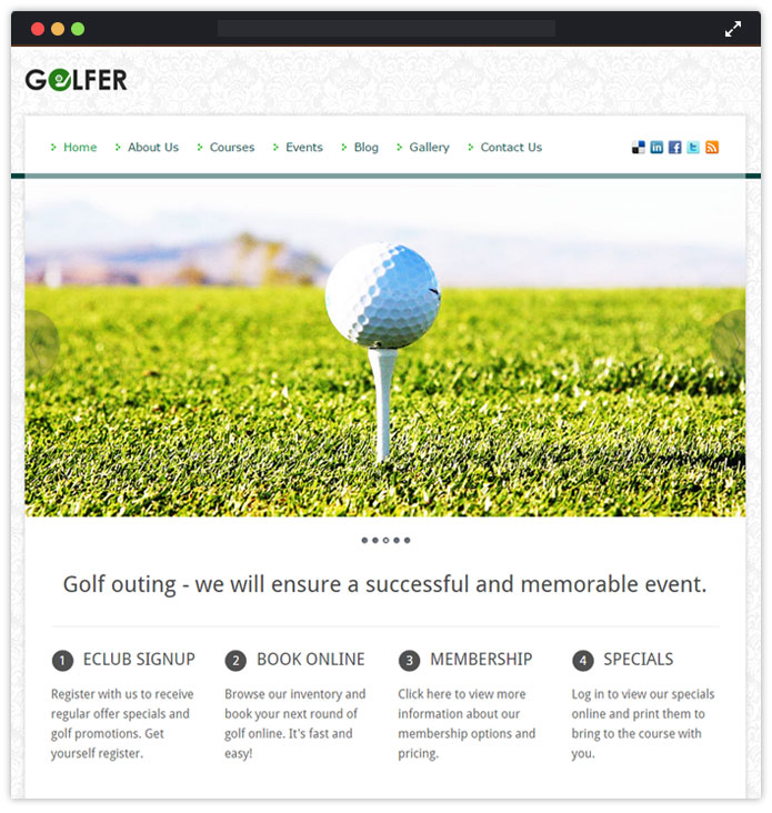 Golfer WordPress Theme