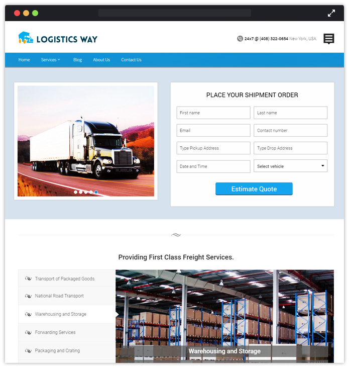 Logistics Booking WordPress Theme with form plugin