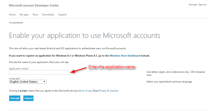 MS Application Page