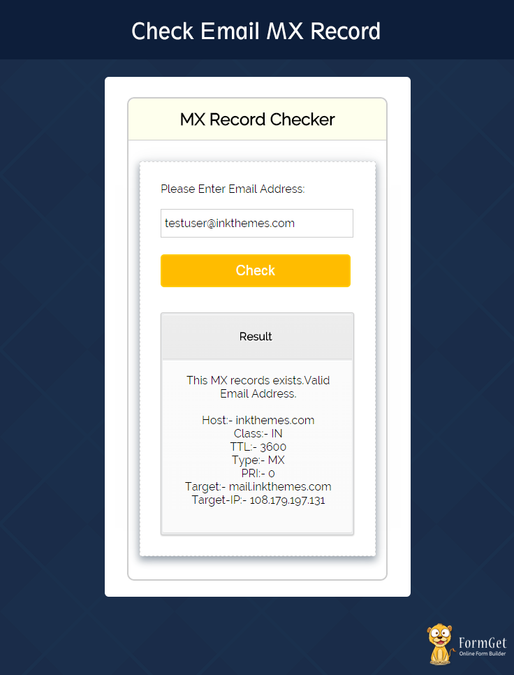 Check Email MX Record