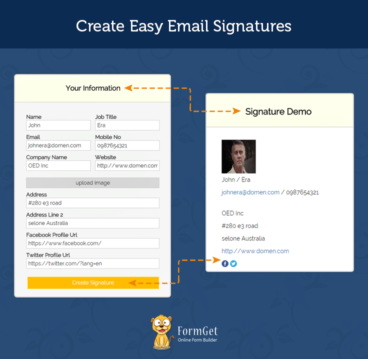 HTML Email Signature Generator FormGet - Bootstrap html email templates