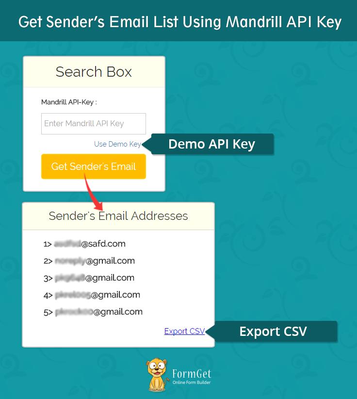 get senders email list using mandrill api key