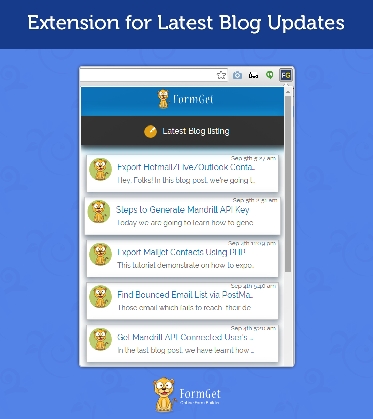 how to create chrome extension for blog updates