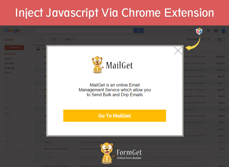 inject javscript in a page using chrome extension