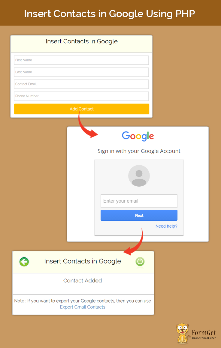 insert contacts in gmail using php