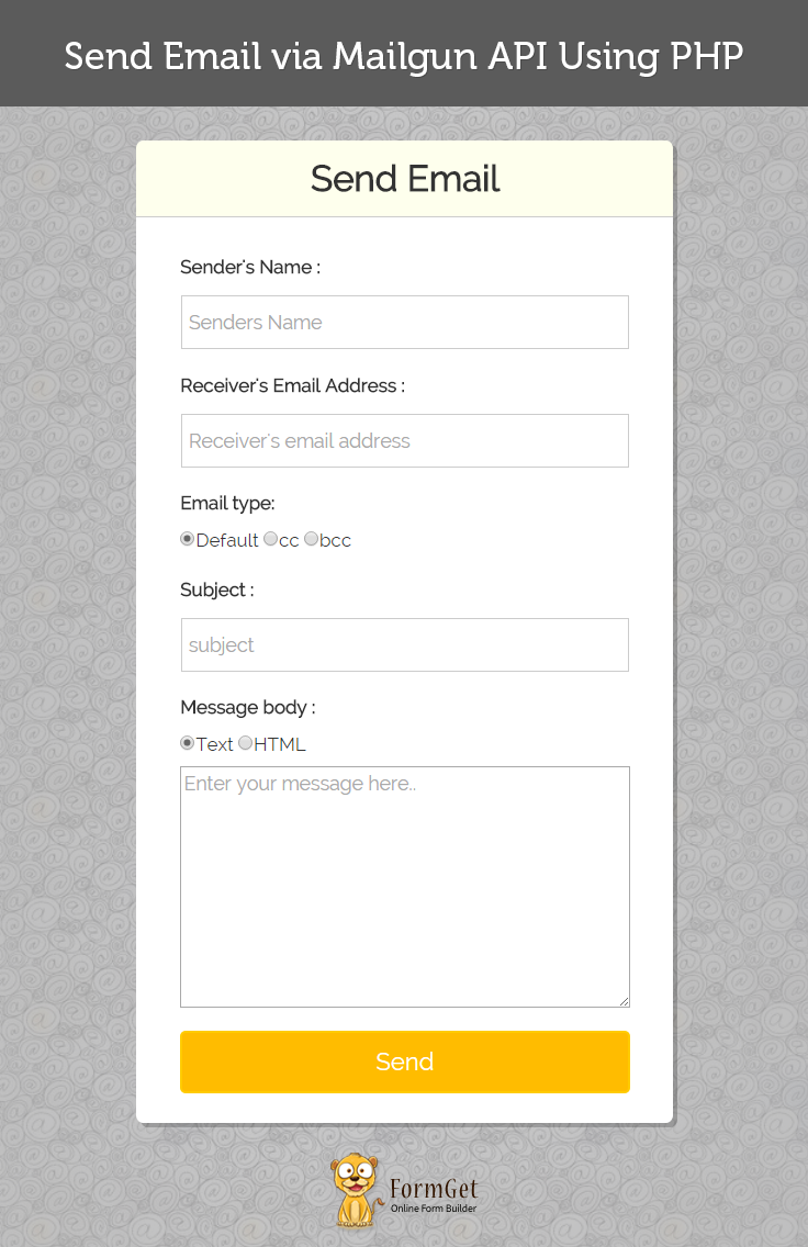 Send Email Via Mailgun Api Using Php Formget