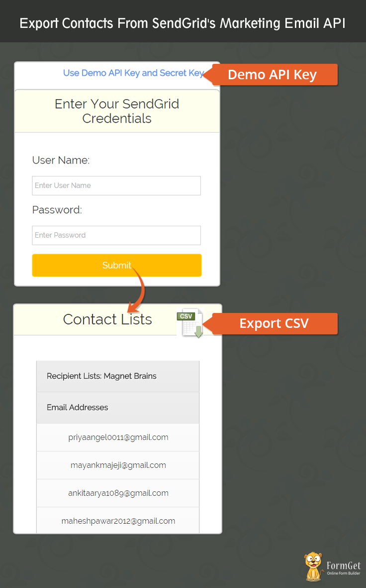 Export Sendgrid Contacts Using Php Formget