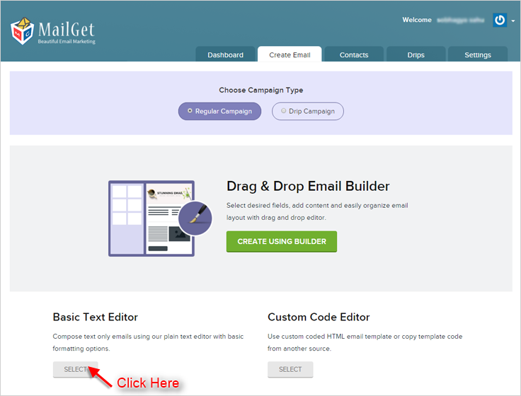 MailGet Basic Text Editor