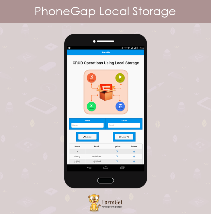 phonegap local storage content