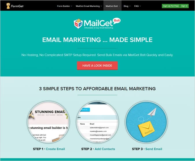 MailGet Bolt - MailChimp Alternatives