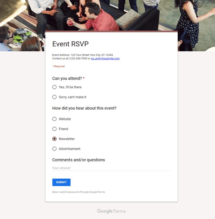 Google Forms Template - Online Form Builder