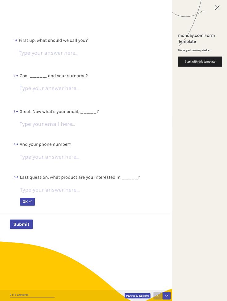 Typeform Template - Online Form Builder