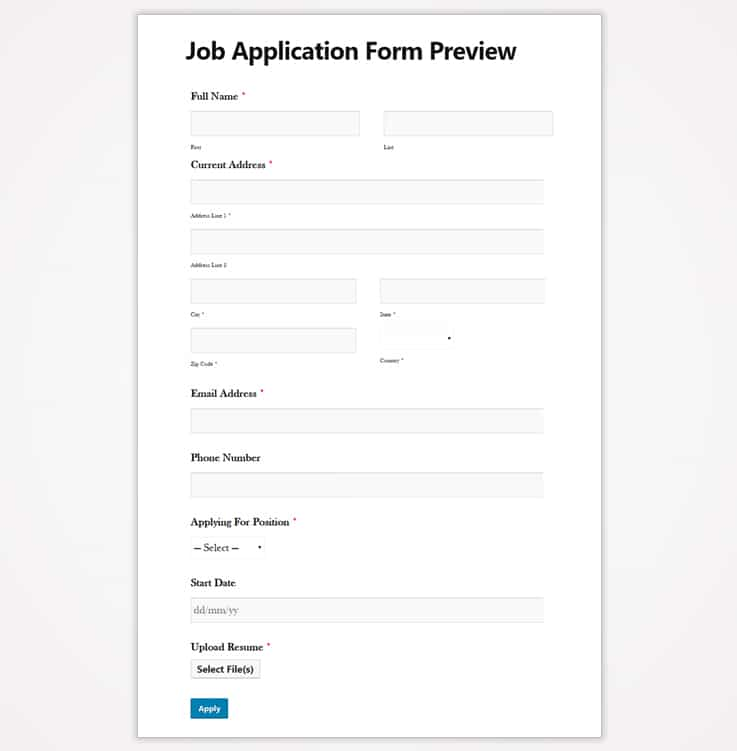 weForms Job Application Form