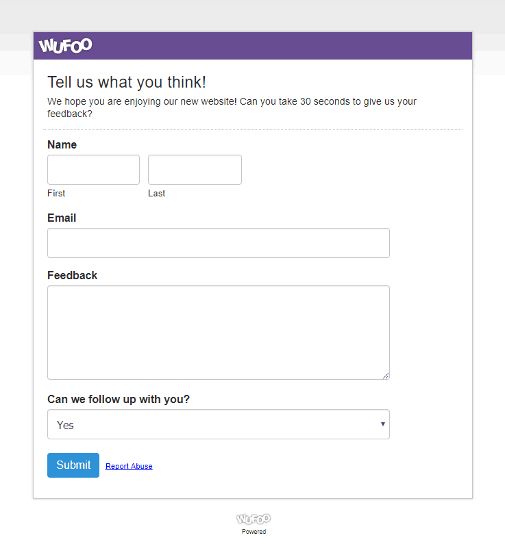 Wufoo Forms Template - Online Form Builder