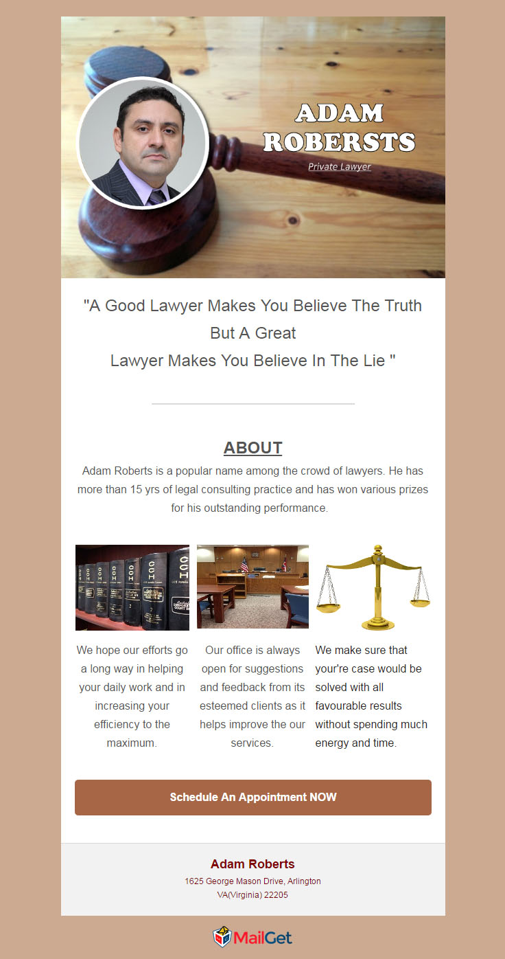5 free email templates for lawyers law firms 2018 mailget for Email brochure template