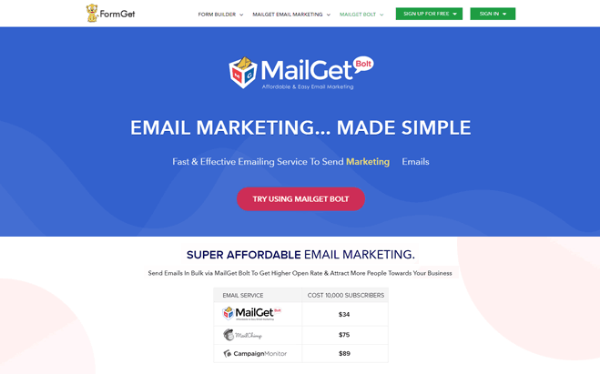 MailGet Bolt - GetResponse Alternatives