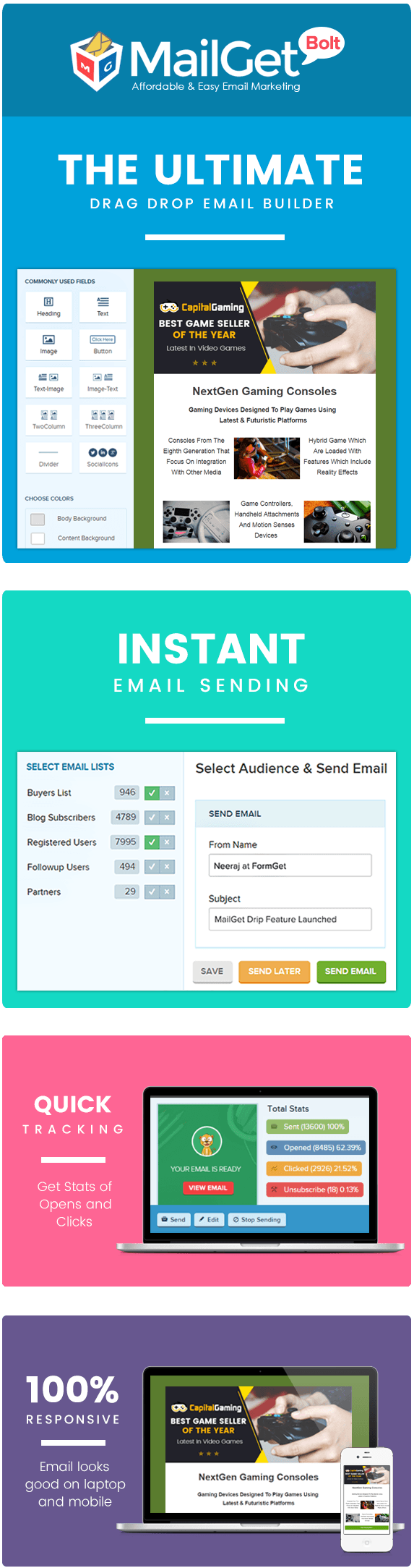 MAILGET BOLT – EMAIL MARKETING FOR GAMES