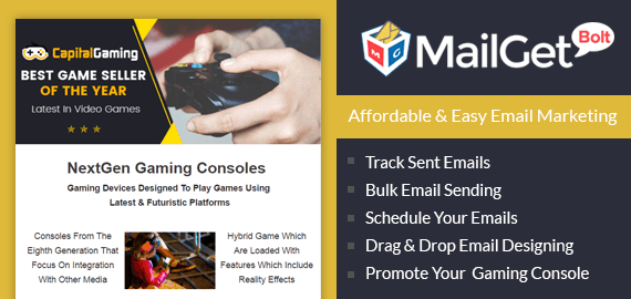 MailGet Bolt - Email Marketing For Games & Recreation Activities