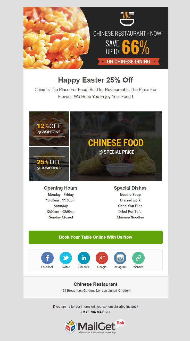 Best Restaurant Email Templates For Food Hotels FormGet - Email table template