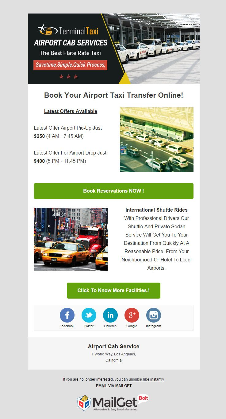 Email Marketing For Airport Cab Services