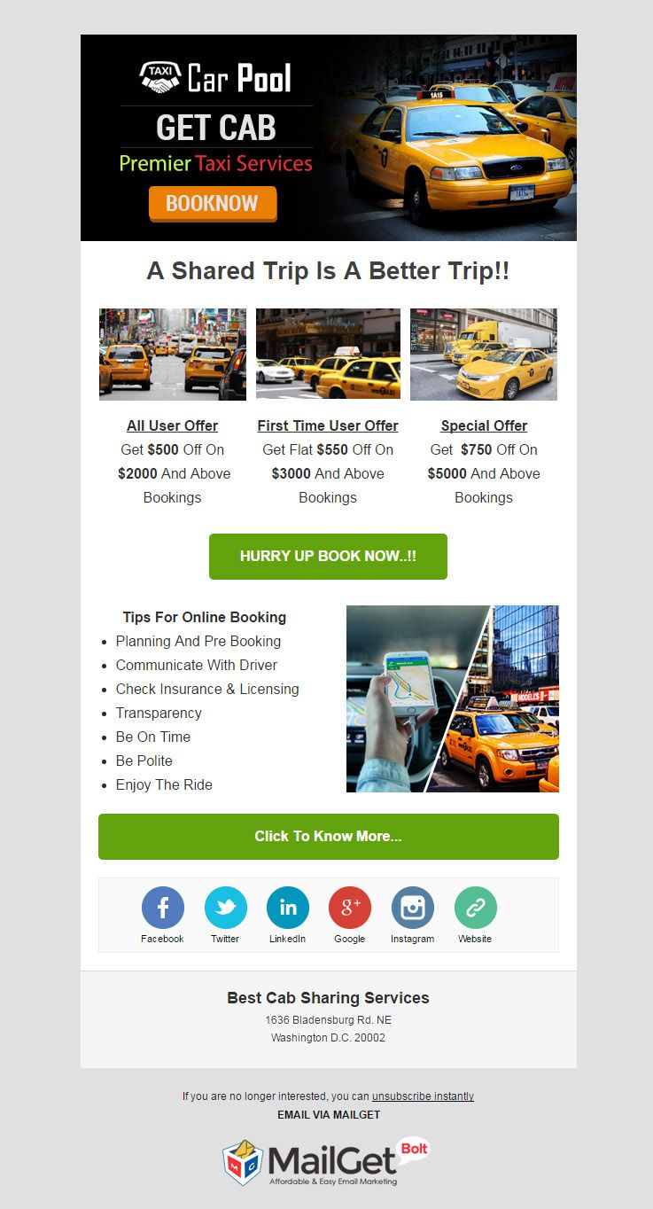 Email Marketing For Carpooling Services