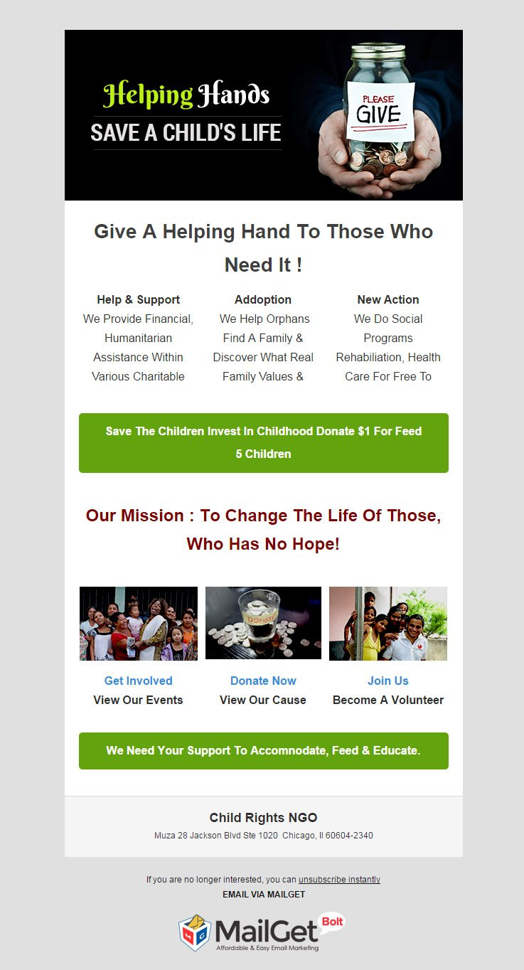 Email Marketing For Child & Human Rights NGO