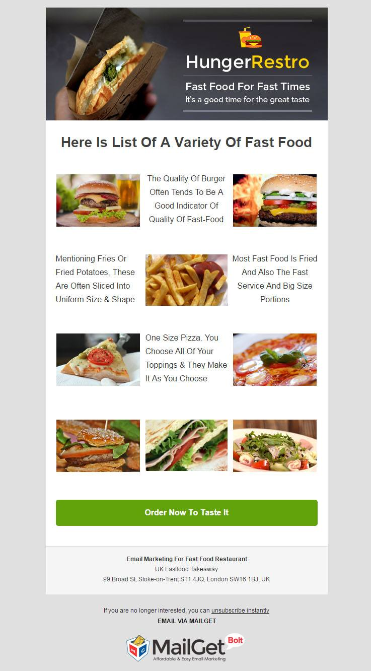 Email Marketing For Fast Food Restaurants