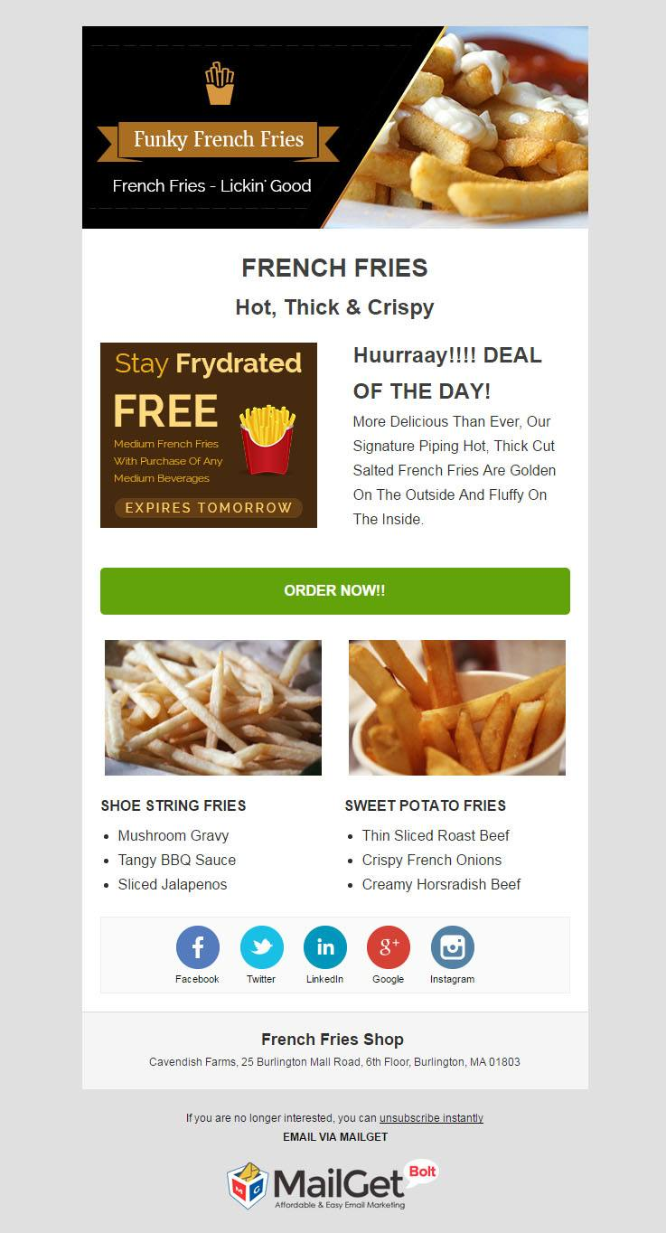 Email Marketing For French Fries Shops