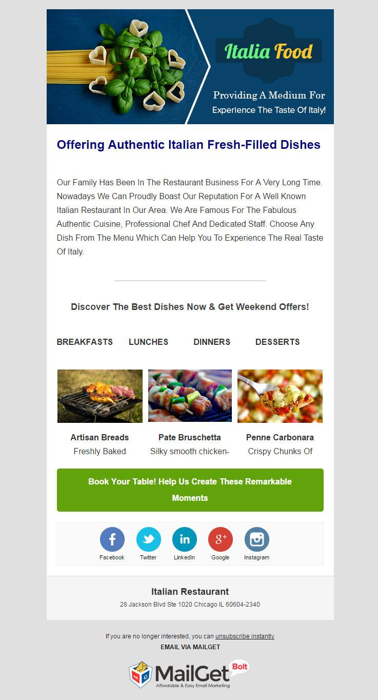 Email Marketing For Italian Restaurants