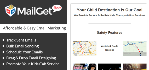 Email Marketing For Kids Cab Services Slider