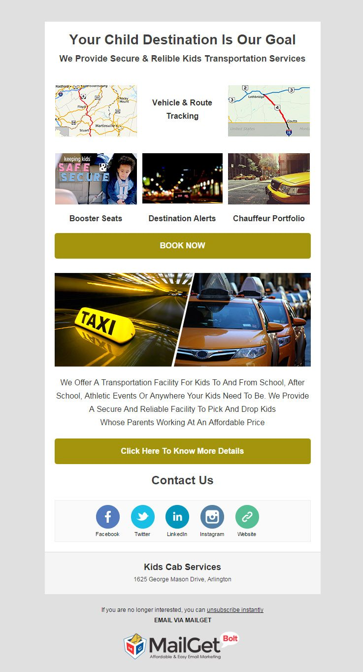 Email Marketing For Kids Cab Services